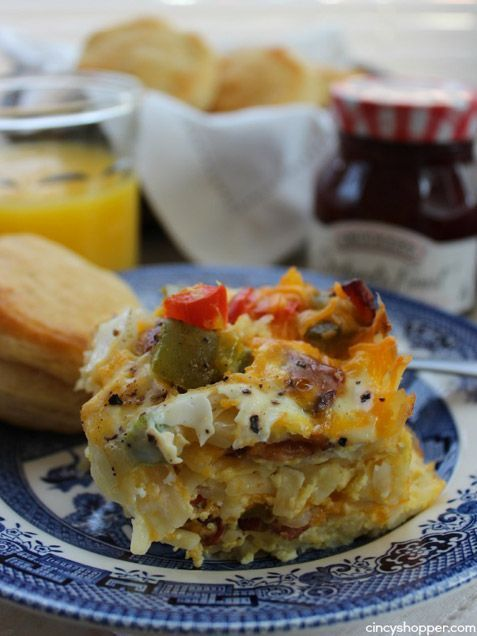 Layers of hash browns, bacon, cheese and gently cooked eggs make this casserole into a mash-up of a crust-less quiche and your favorite diner breakfast.