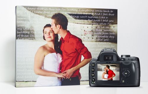 Add your wedding song lyrics to your favourite photo for a unique wedding canvas. Perfect for an anniversary gift! Starting at $70.00 http://www.onacanvas.com/wedding-photo-canvas-song-lyrics