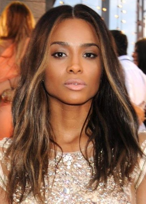 113 best hair color images on pinterest hair coloring ciara african american hairstyle mid length and tousled singer ciara wears her mid length hair loose with a deep middle parting pmusecretfo Images