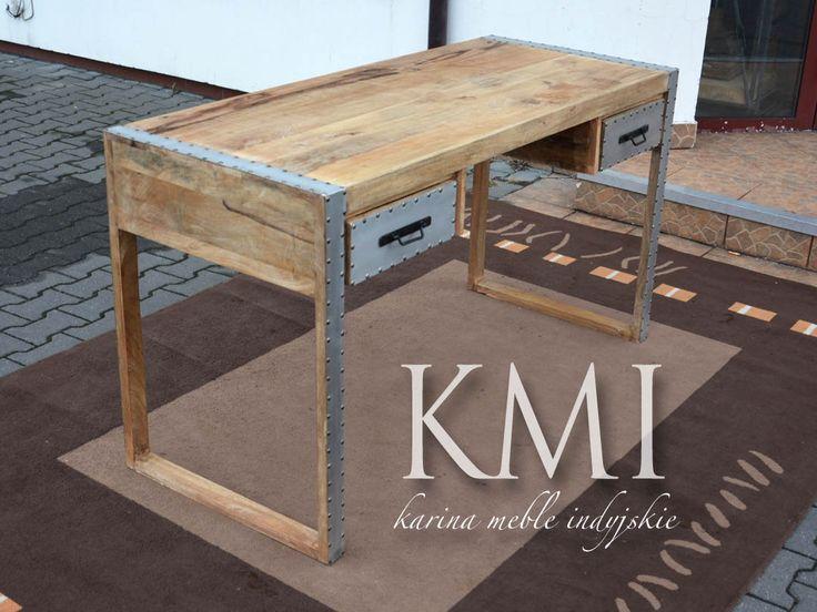"meble mango | duże kolonialne biurko ""Placa"" loft"