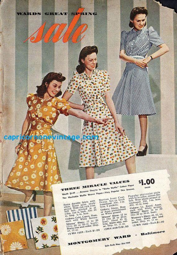 Vintage Montgomery Ward Catalog 1941, women's 40s fashion