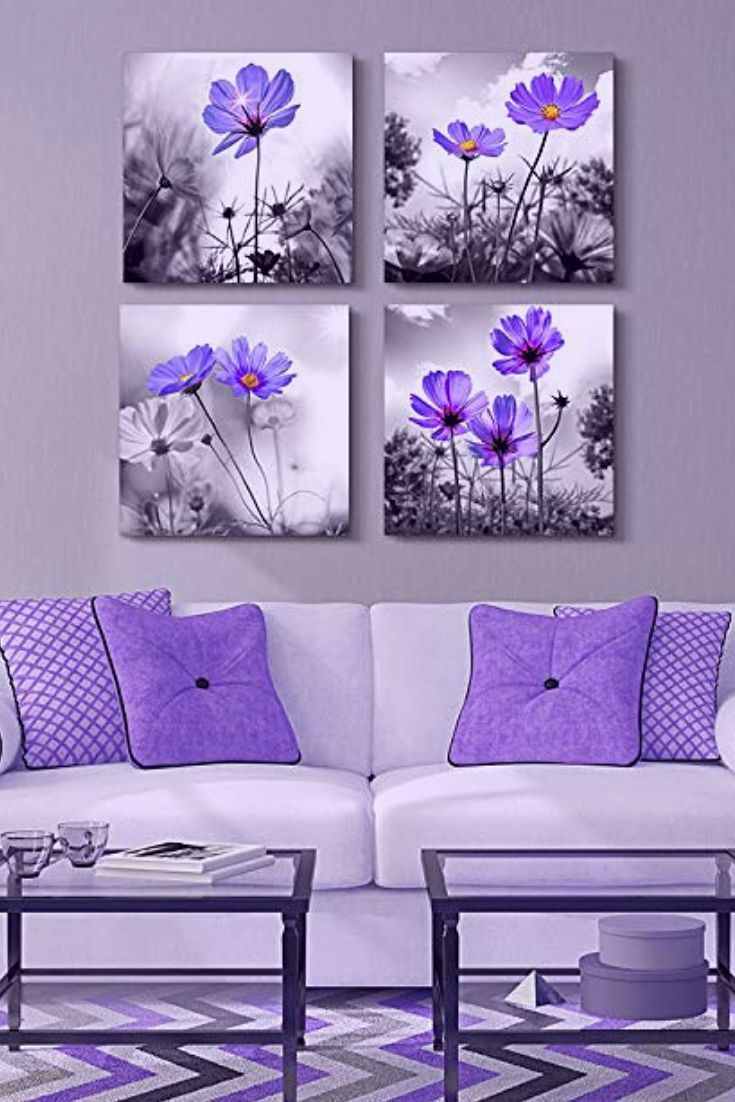 Winter Decorating Ideas Decorating With Winter Floral Wall Art Home Wall Art Decor Purple Wall Decor Purple Home Decor Canvas Wall Art Living Room