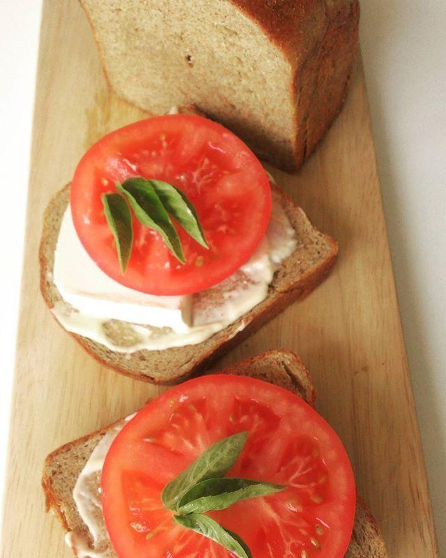 カリカリに焼いたトーストにトマトを乗せて 夏に食べたい大好きなもの  これがやりたくて ハードで少し酸味のある 低糖質パン焼いてみました  新…