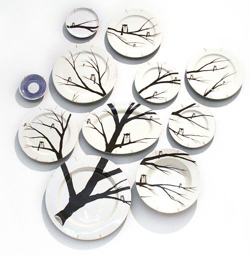 Tree and Owl Plates--A hoot hoot must!