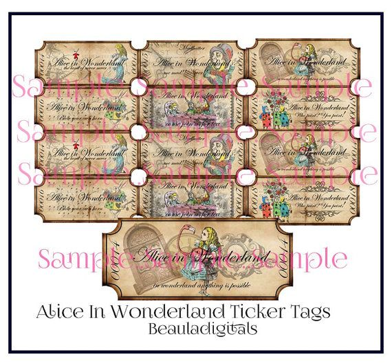 Alice in Wonderland Ticker Tags   Instant by Beauladigitals