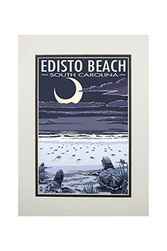 Edisto Beach, South Carolina - Sea Turtles Hatching (11x14 Double-Matted Art Print, Wall Decor Ready to Frame)