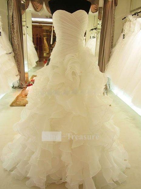Ivory Cascading Ruffle Court Train Satin Organza Corset-back Sweetheart Wedding Dress  $183.99 pretty!