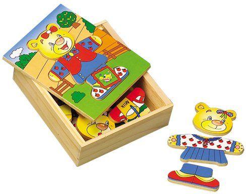"""Oblíbená dřevěná """"oblékací"""" skládačka pro malé děti s medvídkem - holčičkou."""