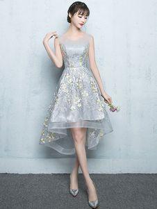 Vestido de Baile de gris claro con escote redondo De banda de encaje de línea A sin mangas de encaje
