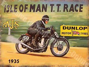 Vintage Garage, 37 AJS Motorcycle, Old Isle of man TT Race Medium Metal/Tin Sign | eBay