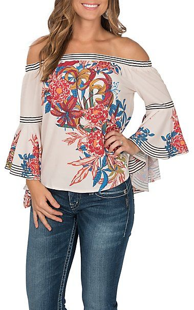 a9b2a7aff9e7f7 Flying Tomato Women s Ivory with Red and Blue Floral Print Off the Shoulder  Long Bell Sleeve Fashion Top