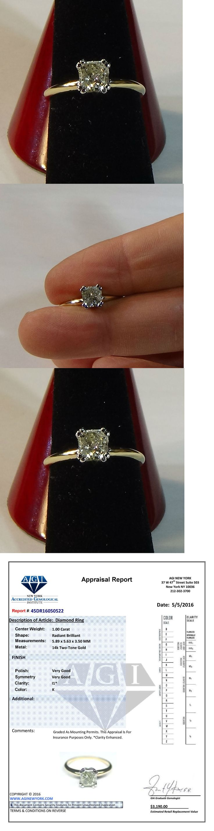 Diamond 164306: 1 Ct Radiant Cut Natural Diamond Solitaire Engagement Ring Set 14K Yellow Gold BUY IT NOW ONLY: $1099.0