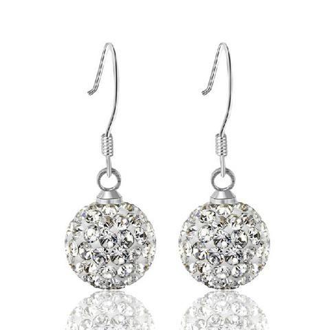 Shambala Ball Sterling Silver Drop Earrings