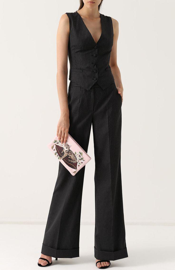 Женские серые расклешенные брюки со стрелками и карманами DOLCE & GABBANA — купить за 55350 руб. в интернет-магазине ЦУМ, арт. 0102/FTAM9T/FR2SR