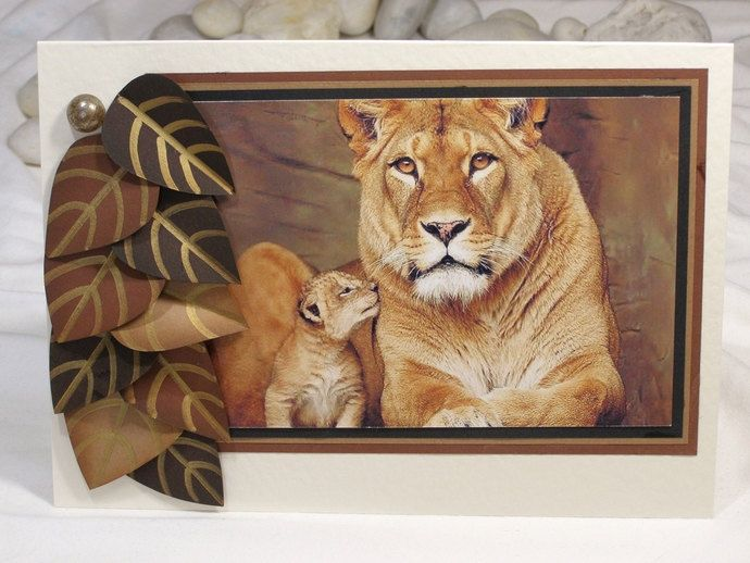 """6 x 8"""" Lion Cub Card Lioness Greeting Card Birthday Lion and Cub Lioness and Cub Personalized Greeting Card Layered Card Male (6.00 EUR) by 4SeasonCards"""