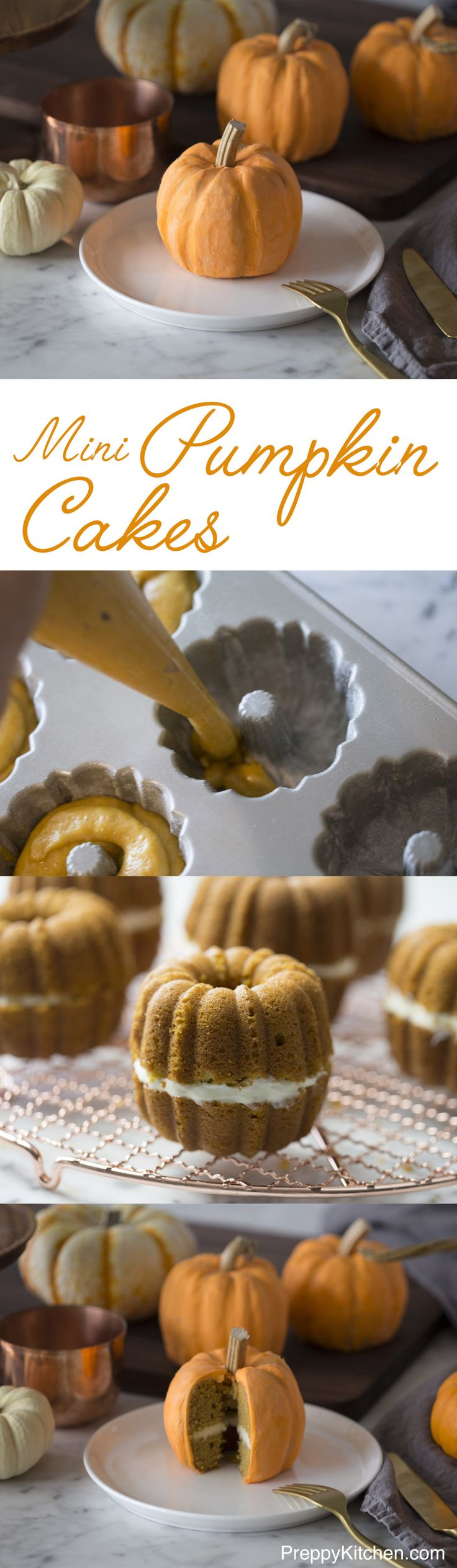 What could be cuter than some trompe l'oeil mini pumpkin cakes? The cakes are moist and full of Fall spices, which are nicely complimented by the cream cheese frosting in the middle and buttercream outside. Click over for recipe and video. via @preppykitchen
