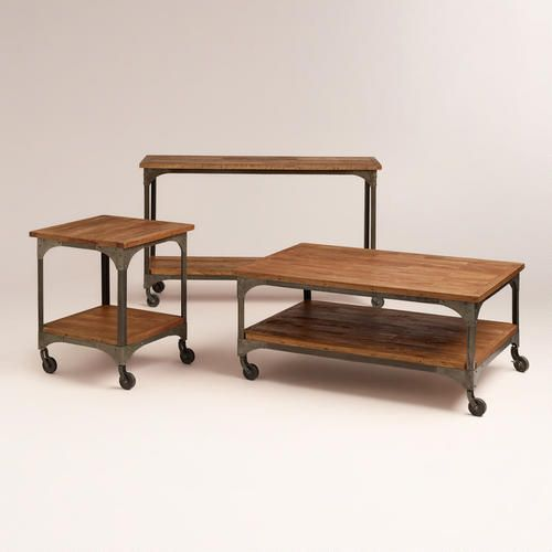 Wood And Metal Aiden Console Table: Book Storage, Rustic Modern