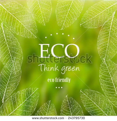 Vector blurred nature background with eco label of Organic Standart Farm Fresh Food. Think green. Premium quality green product. Quote. Environmental protection.