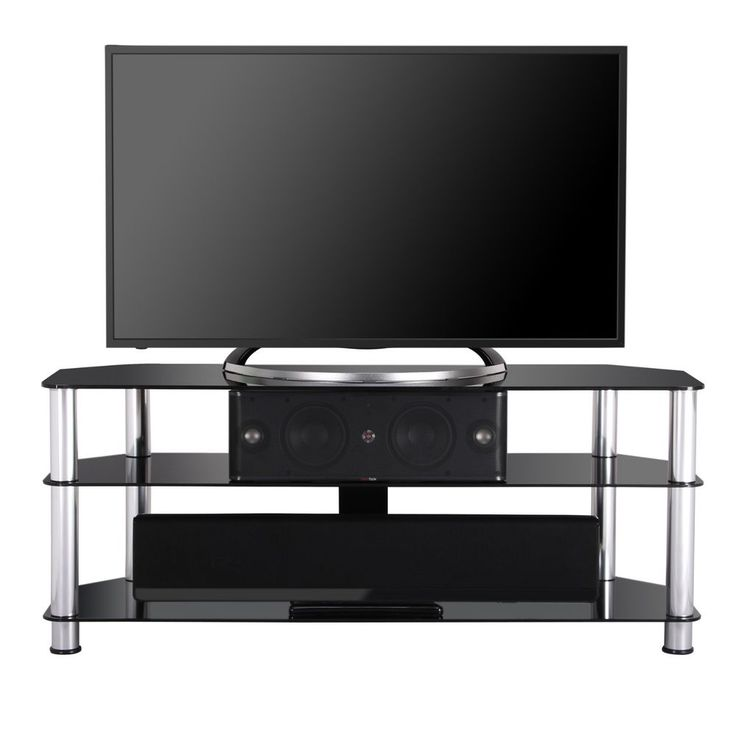 TV Stand With Black Tempered Glass and Silver Tubes for 32-50 Inch Television #Fenge #Contemporary