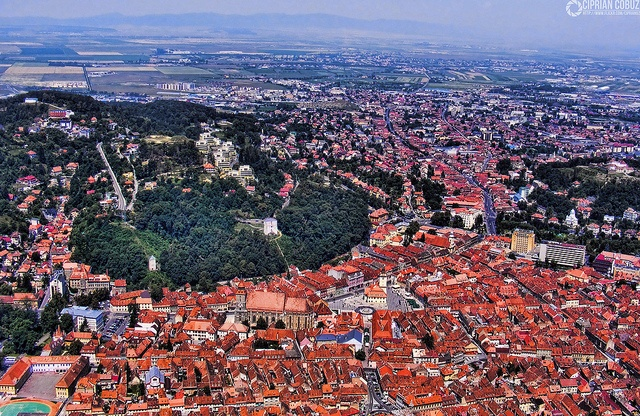Brasov Romania aerial view of old town