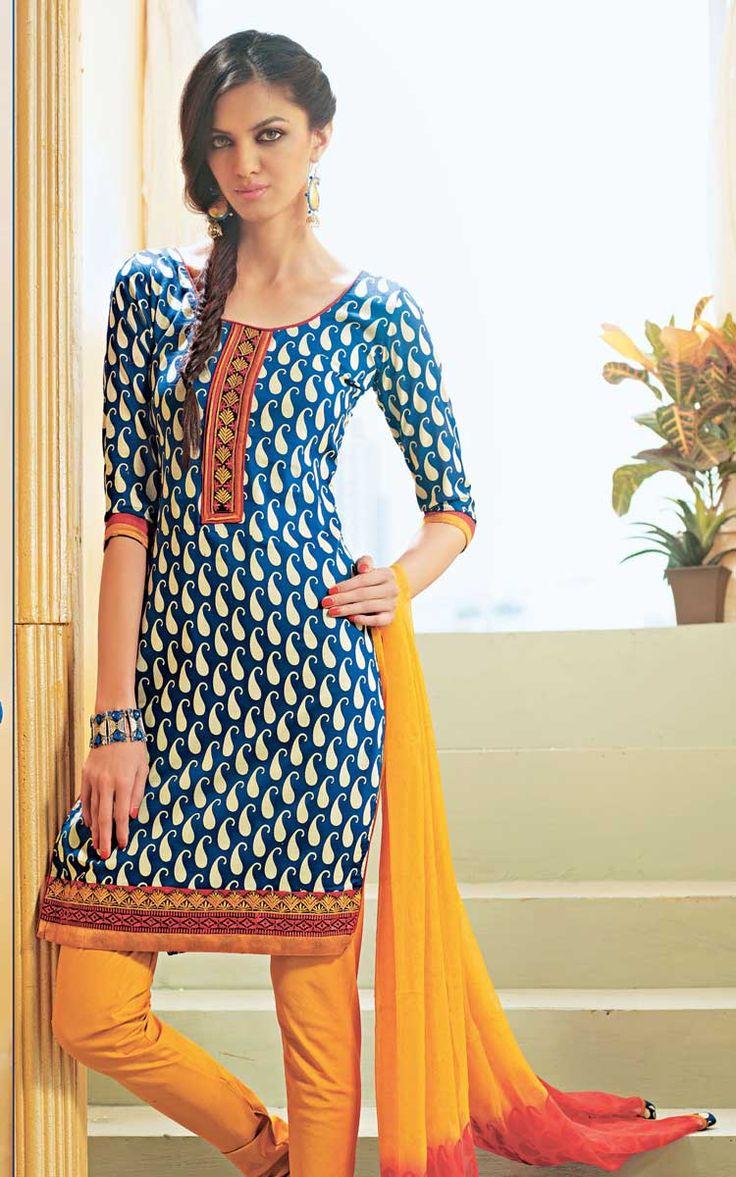 Blue & Yellow Cotton Salwar Kameez | Salwar/Churidhar ...