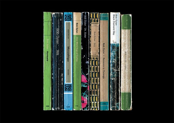 What if Bob Dylan had decided to become a full-time writer? This literary music poster print imagines how his 1976 album Desire might have appeared - as a collection of novels instead of songs.  Each book in this print corresponds to a track on the album, arranged in the order they appear on the original vinyl release. Theyre all based on those wonderful classic Penguin and Pelican paperback books, and the colours of the book spines echo those seen in the original album artwork.  The books…