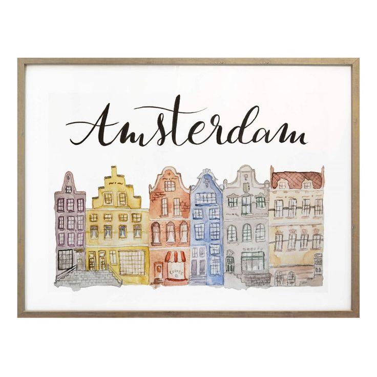 Poster Skyline of Amsterdam - Aquarell - Amsterdam ist die ...
