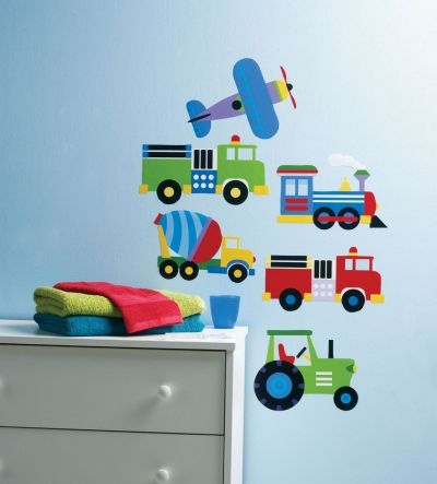 Planes & Trains Stickers (13361) - Creative Wall Art Stickers - A collection of brightly coloured, cartoon vehicle stickers – 1 train, 1 plane and 4 trucks, in an assortment of sizes.  Supplied on sheets -  the largest being 33cm x 18cm.