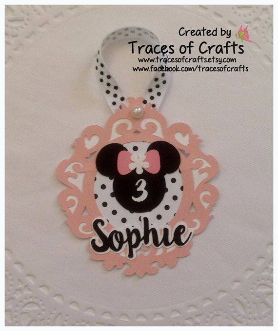 Minnie Party Favour Tag Birthday Favor by tracesofcrafts on Etsy