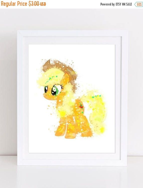 70%OFF My Little Pony Applejack Pony Watercolor Print Nursery