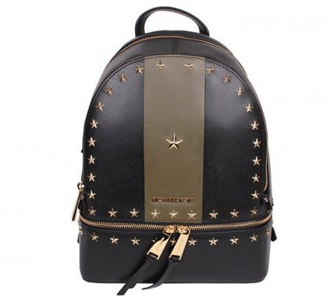 MICHAEL Michael Kors Rhea Medium Stars Studded Backpack Black/olive