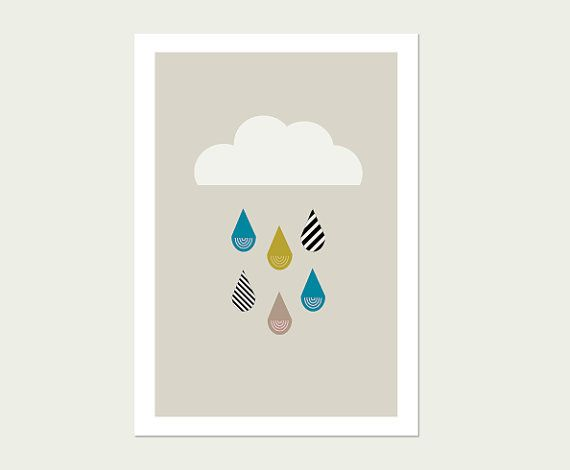 raincloud wall art print teal grey and yellow kids wall art kids - Kid Prints