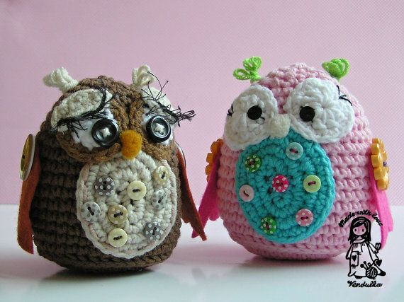 Owls ~ Vendula Maderska: Crochet Owl Patterns, Crochetowl, Crochet Animal, Crochet Amigurumi Toys, Vendula Maderska, Owl Obsession, Buttons, Crochet Patterns, Crochet Tricot