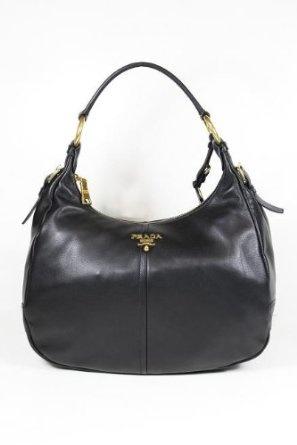 Prada Black Leather Hobo BR4373