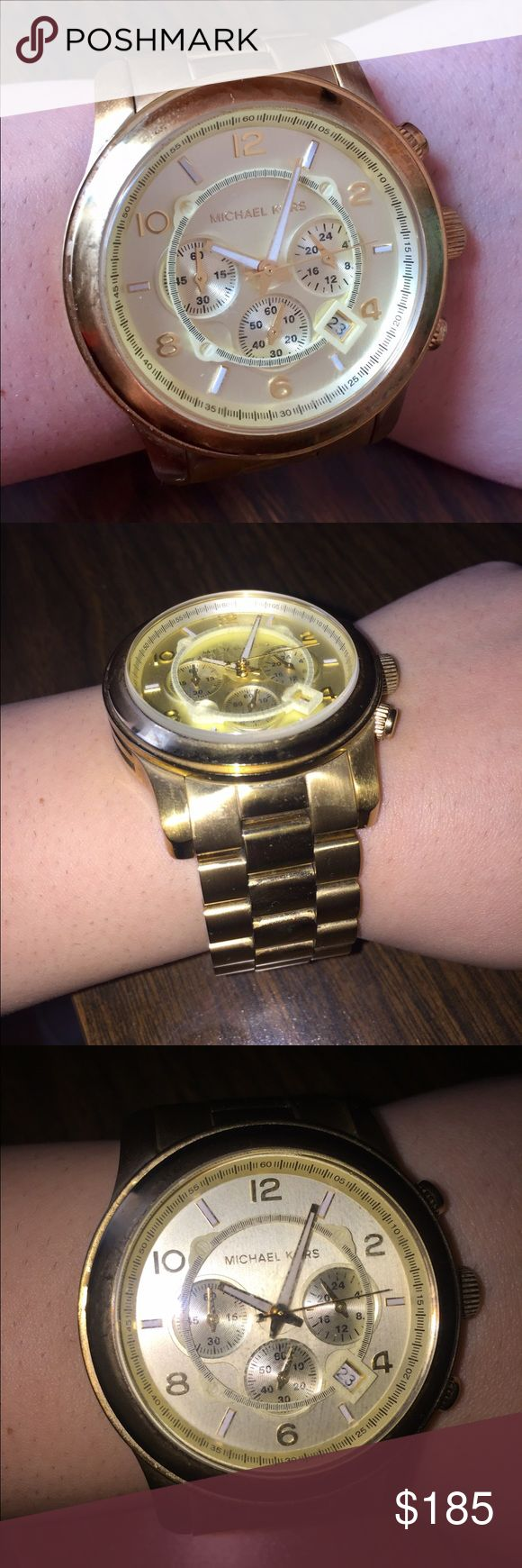 Michael Kors Gold Large Face Chronograph Watch Michael Kors Gold Large Face Chronograph Watch. Beautiful and completes any outfit. Comes with the box :) comment below for questions Michael Kors Accessories Watches