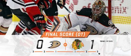 The Ducks earn a point but can't find the net, falling 1-0 to the Chicago Blackhawks in overtime tonight at United Center. Frederik Andersen stopped 23 shots in the loss.