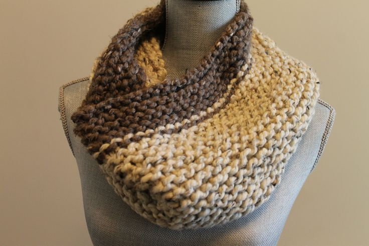 Handmade Knitted Wool Blended Brown and Cream Super Warm Cowl by FunkieFrocks on Etsy