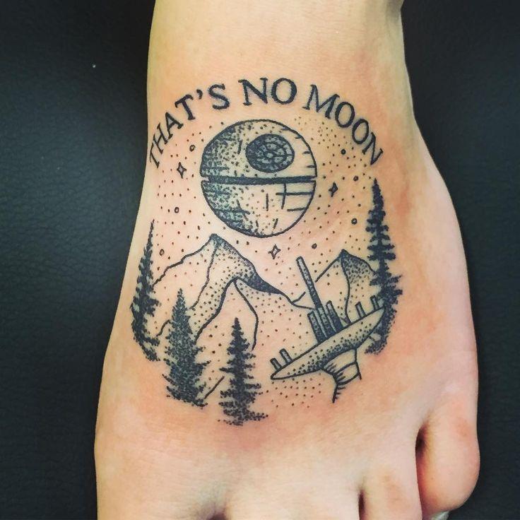 Star Wars tattoo Episode4&6 mashup! #starwars #tattoo #foottattoo #dotwork #forest moon #endor #deathstar