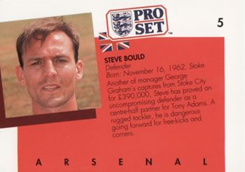 1990-91 Pro Set English League #5 Steve Bould Back