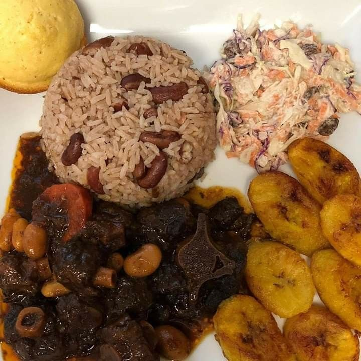 oxtail  bean with rice  peas and plantains in 2020