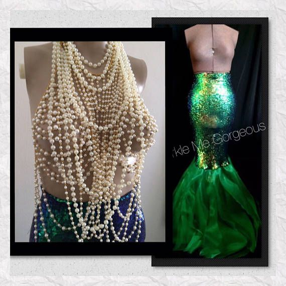 Mermaid Costume Adult Mermaid Tail and Pearl Mermaid Bra