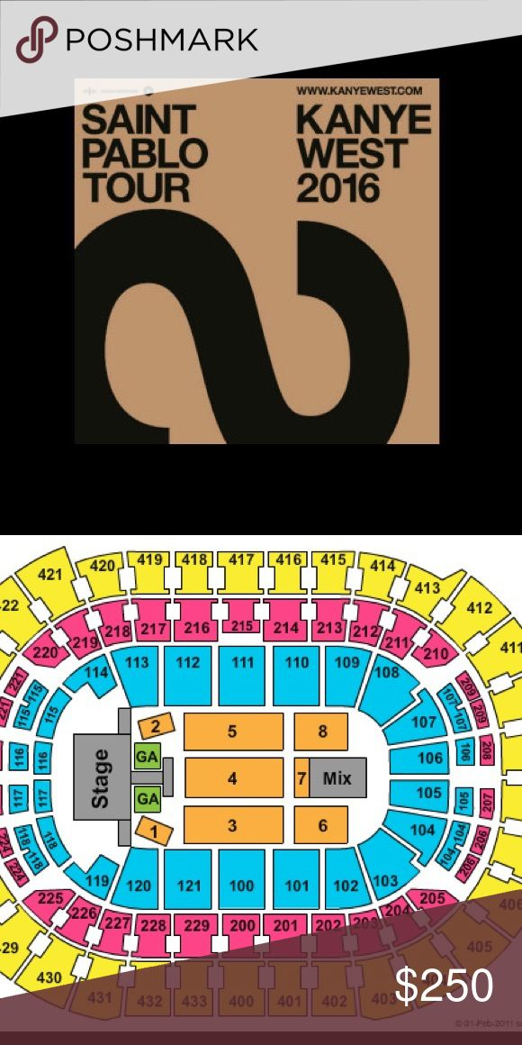 2 Kanye West tickets Saint Pablo tour SOLD OUT SHOW. Legit tickets that I will transfer through Ticketmaster. See the amazing Yeezus live. AWESOME seats straight ahead from stage. Saint Pablo tour. Verizon Center Washington DC Sept 8. Section 104 Row O seat 13 and 14. I am only selling through ️️ because of Posh fees. I am a trusted seller with tons of reviews. Questions? Just ask. $250 is price for each ticket. Supreme Other
