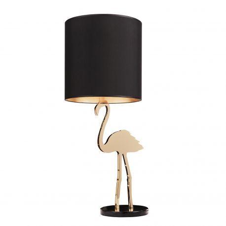 Lampe design Flamant rose - Aussi élégante qu'originale, la lampe Crazy Flamingo apporte une touche déco d'exception à votre intérieur. Audacieuse et chic, cette lampe à poser design d'une hauteur de 1 mètre, s'impose comme une pièce centrale, captivant le regard avec sa structure en forme de flamant rose en métal doré et son abat-jour en tissu noir.