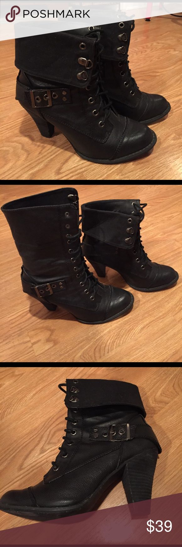 """Sassy lace-up fold over boots These sassy lace-up fold over boots were purchased from Victoria's Secret. The brand is Not Rated. These can be worn folded over or tall and all the way laced up. I wore these twice and they were surprisingly comfortable with a 3"""" heel with good balance. Not Rated Shoes Lace Up Boots"""