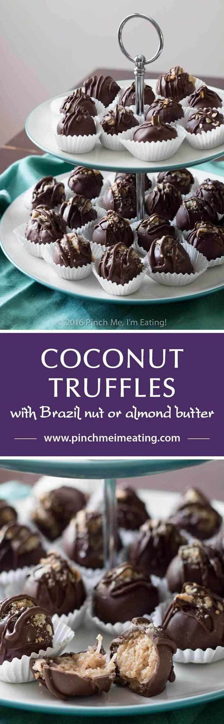 Chocolate covered coconut truffles with Brazil nut or almond butter are a rich…