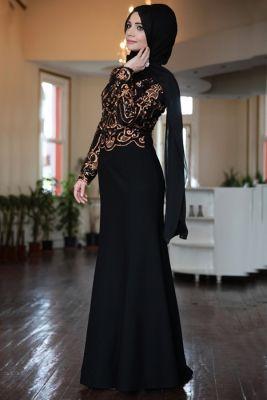 Hanefix Bakır Tesettür Abiye Elbise