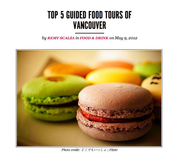 "Thank you @Tourism Vancouver for this mention! ""Top 5 Guided Food Tours of Vancouver"""