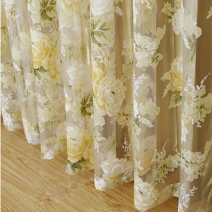 Дешевое Высокое качество затенение роуз цветочные тюль штор занавески для гос%