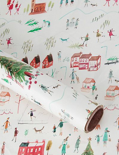 4m Village Scene Roll Wrapping Paper Home by Mercedes Leon for Marks and Spencer