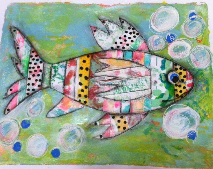 """""""I was cleaning out the scrap drawer and had all the strip pieces that I cut from the edges of Gelli printed papers.  I glued them side by side to make a sheet of paper.  I then cut the fish parts out and glued those down to another full sheet of Gelli printed paper .  The rest of the details were done with charcoal, and acrylic paints."""" Lucy's Lampshade: January Art Journal and Fish Sticks"""